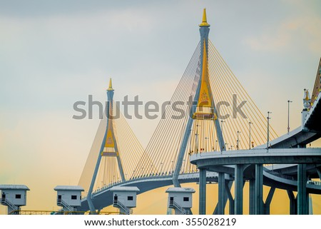 Bhumibol bridge one of landmark in Bangkok,Thailand - stock photo