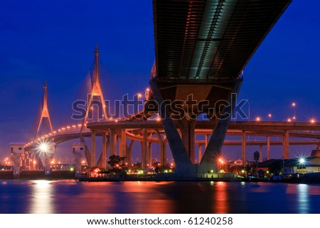 Bhumibol Bridge,the Industrial Ring Bridge or Mega Bridge,at dusk in Thailand.The bridge located at Bangkok harbor.