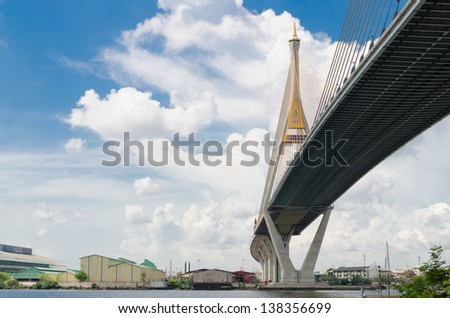 Bhumibol Bridge, The Industrial Ring Road Bridge in Bangkok, Tha - stock photo