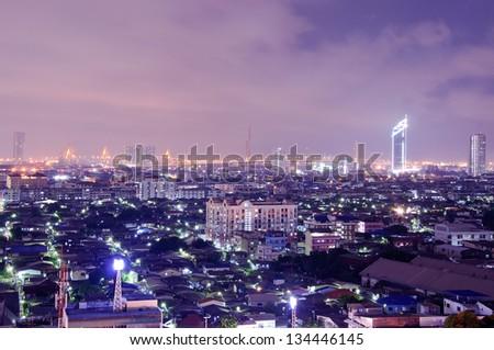 Bhumibol Bridge with cityscape background of Bangkok at twilight - stock photo