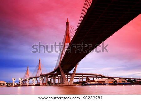 Bhumibol Suspension Bridge Under Sunset, Bangkok - stock photo