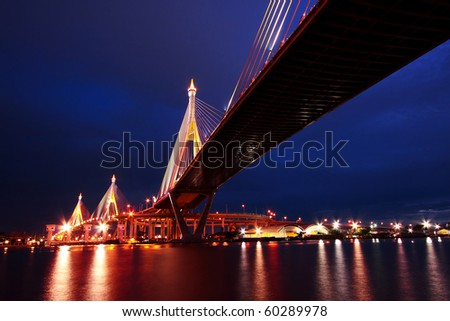 Bhumibol Suspension Bridge Under Twilight, Bangkok