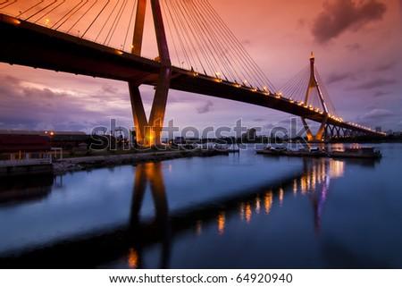 Bhummiphol Bridge in Thailand - stock photo