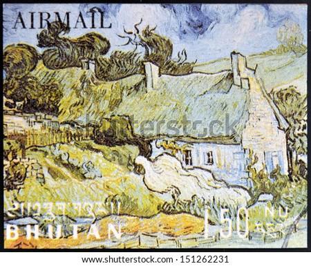 BHUTAN - CIRCA 1980: A stamp printed in Bhutan shows Grasgrond by Vincent Van Gogh, circa 1980  - stock photo