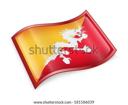 Bhutan flag icon, isolated on white background - stock photo