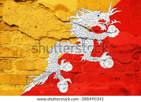 Bhutan Flag painted on old wall texture