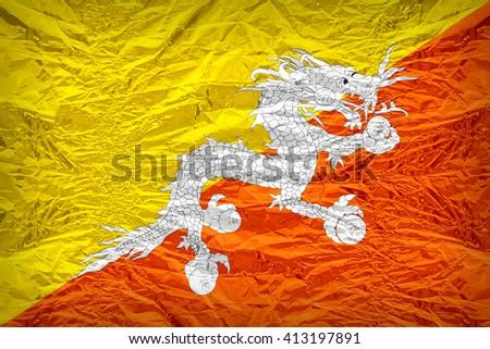 Bhutan flag pattern overlay on floyd of candy shell, vintage border style - stock photo