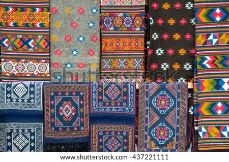 Bhutan, 06 Nov 2011: Colourful handmade patterns and designs at a roadside stall. - stock photo