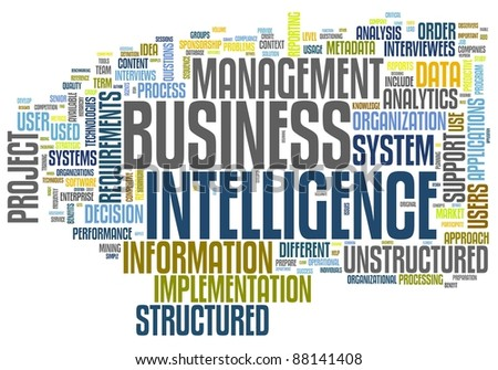 BI - Business intelligence concept in word tag cloud isolated on white - stock photo