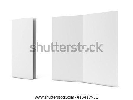 Bi-fold brochure. 3d illustration isolated on white background