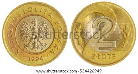 Bi-metalic 2 zloty 1994 coin isolated on white background, Poland