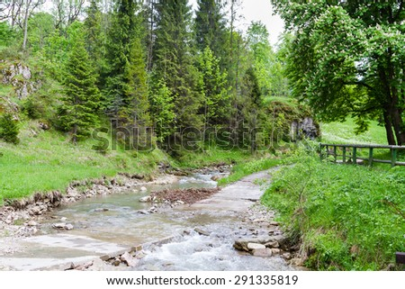 Biala Woda Reserve in Pieniny, Poland. It is another popular tourist destination next to Homole Ravine. - stock photo