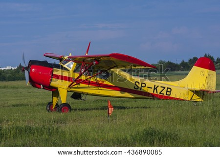 Bialystok , Poland , June 4, 2016: Old sports plane at the airport flying club