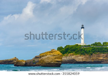 Biarritz lighthouse by a cloudy day, France - stock photo