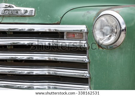 Biberach, Germany, 31 August 2015: American vintage car, close-up of Chevrolet front detail - stock photo
