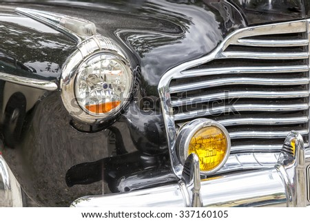 Biberach, Germany, 31 August 2015:: American vintage car, close-up of front detail