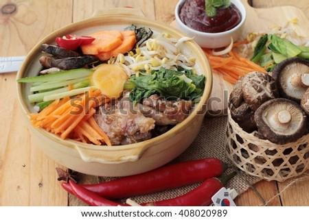 Bibimbap korean food is delicious - stock photo