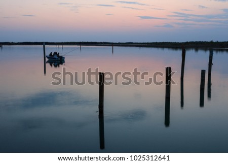 Bibione lagoon at sunset