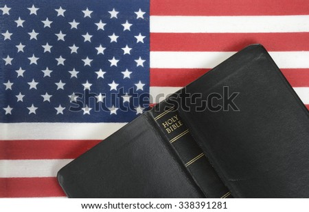 bible and American flag background - stock photo