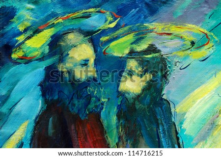 bible apostles peter and paul,  illustration, painting by oil on a canvas - stock photo