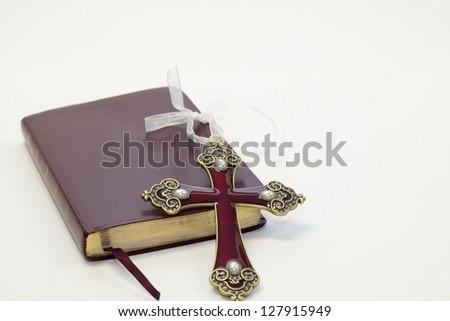 Bible & Cross - stock photo