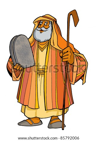 Bible hero patriarch Moses holding two tablets with the Ten Commandments and the staff colored children's illustration - stock photo