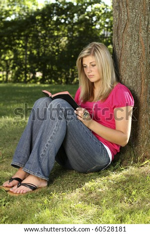 Bible study in the park - stock photo