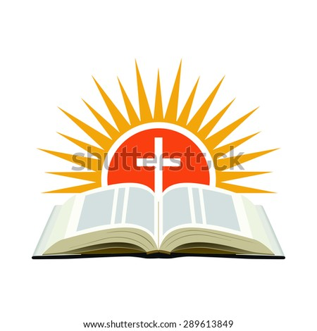 Bible, sunset and cross. Church logo concept. Isolated on white background. - stock photo