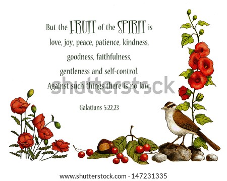 Bible Verse, Fruit of Spirit, Nature Art: This bible verse from Galatians about the fruit of the Spirit is embellished with my original artwork of poppies, hollyhocks, a sparrow, and some berries. - stock photo
