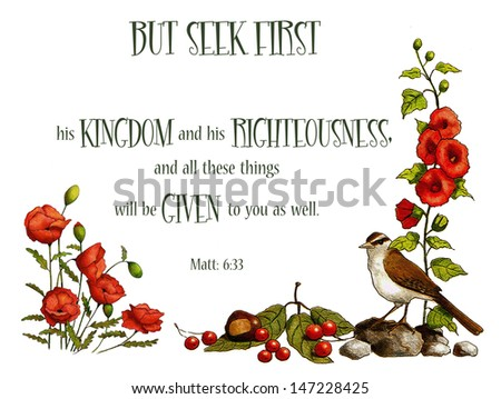 Bible Verse: Seek First God's Kingdom, Nature Art.  This Bible verse from the book of Matthew is surrounded by my drawings of a bird, some berries, hollyhocks, and poppies. - stock photo