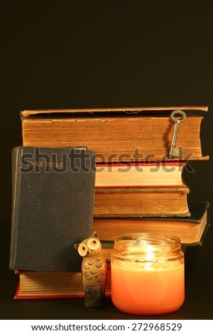 Bible with old books, a candle and an owl on a black background - stock photo