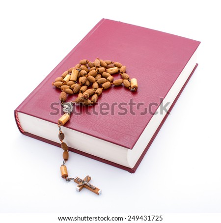 bible with rosary - stock photo