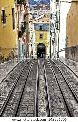 Bica elevator tram in Lisbon, Portugal - stock photo