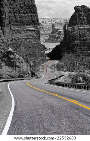 Bicentennial Highway at Hite bridge in Glen Canyon National Recreational Area - stock photo