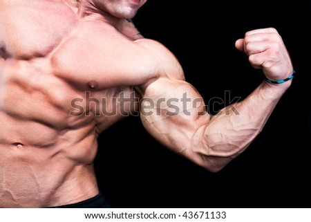 Bicep close up , isolated on black background - stock photo