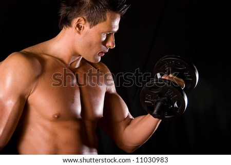 Bicep curl. - stock photo