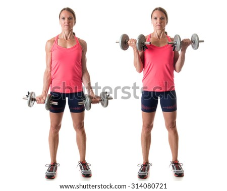 Bicep curl exercise. Studio shot over white. - stock photo