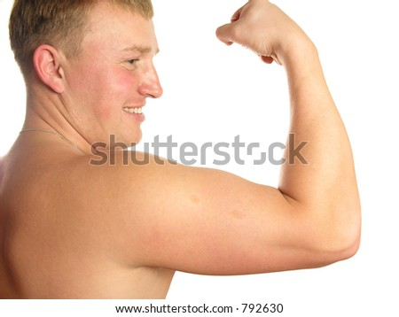 biceps athlete - stock photo