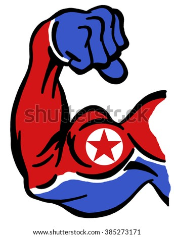 Biceps painted with colors of North Korean flag as symbol of power of Kim and communist party, supreme leader of N. Korea
