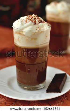 Bicerin, Turin style coffee, layered coffee dessert: chocolate, coffee, whipped cream - stock photo