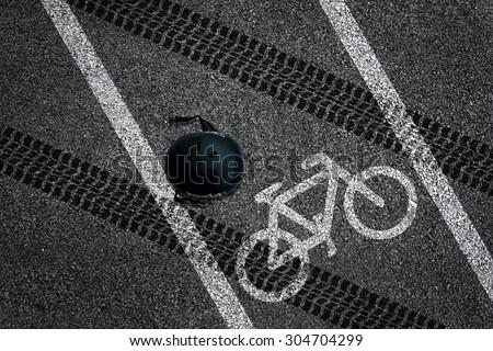 Bicycle accident on bike lane - stock photo