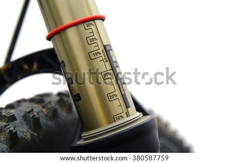 bicycle air suspension fork - stock photo