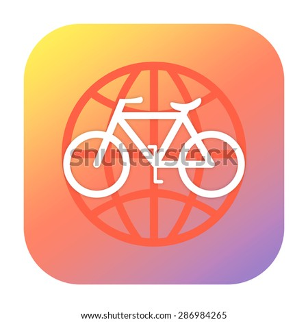 Bicycle and globe icon - stock photo