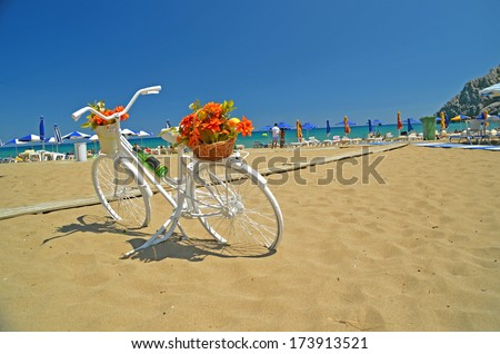 bicycle beach flowers retro -Rhodes  - stock photo