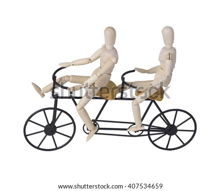 Bicycle built for two riders - path included - stock photo