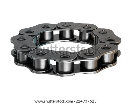 Bicycle chain circle ring isolated on white background