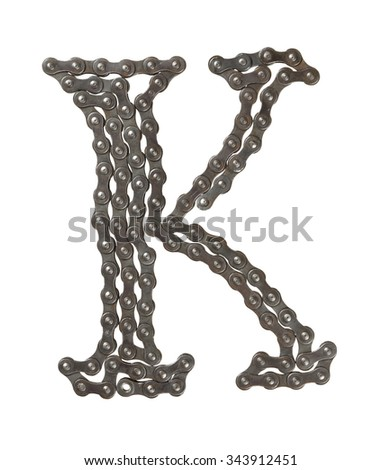 Bicycle chain letter K on white background. Bicycle alphabet.  - stock photo