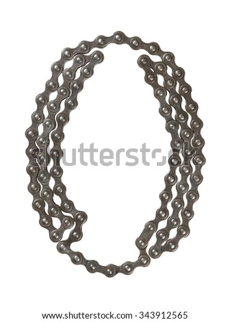 Bicycle chain letter O on white background. Bicycle alphabet.  - stock photo