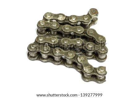 bicycle chains isolated on white background - stock photo