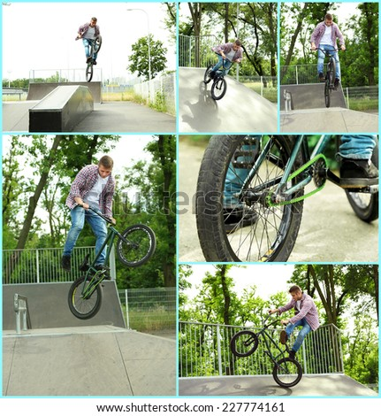 Bicycle collage - stock photo